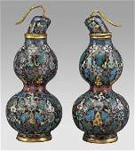 224 Pr Chinese Qing double gourd form cloisonne vases