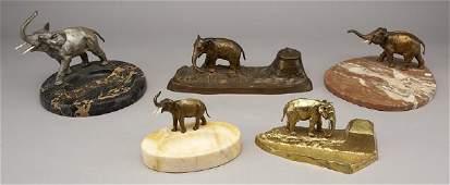 268 5 Austrian bronze elephant desk sets