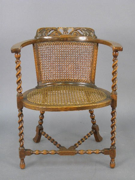 3: Unusual English arm chair w/ caning and barley