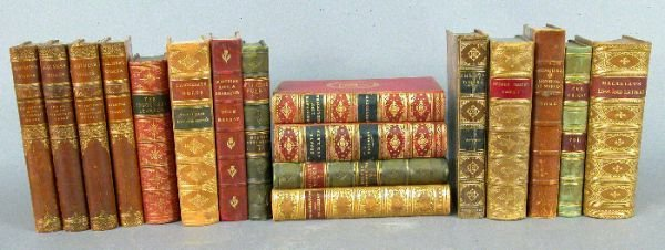 4: (17) Assorted antique leather bound books.