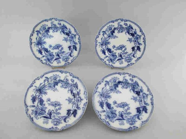 """6: (4) Flow blue """"hot water"""" plates in the"""