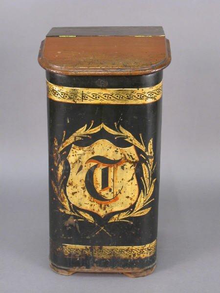 7: Victorian decorated tole tea tin