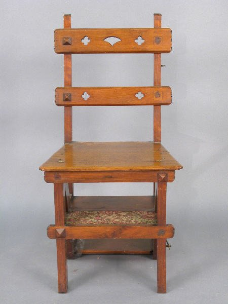 8: English Victorian library steps / chair,