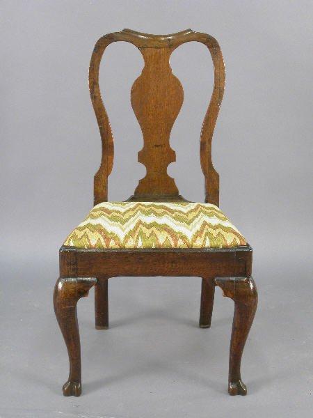 9: English oak Queen Ann style side chair