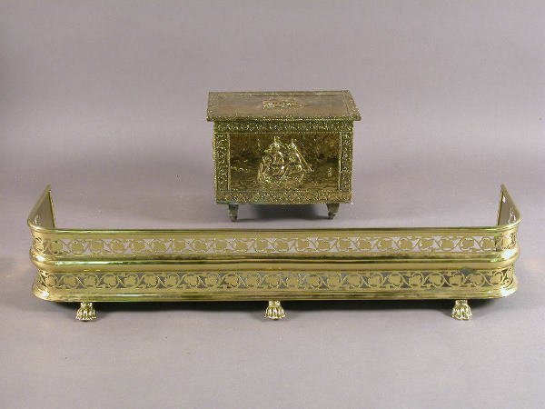 12: (2) English 19th C. brass fireplace accessories