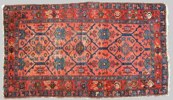 13: C. 1930 Oriental Lilihan rug. General wear.