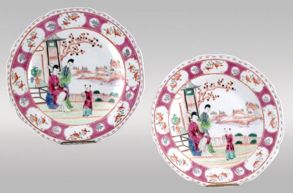 15: Pair of fine Chinese Export Rose Canton plates