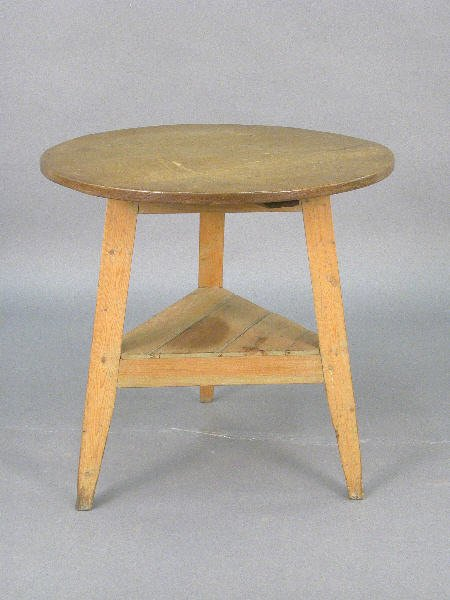 21: English scrubbed pine cricket  table with