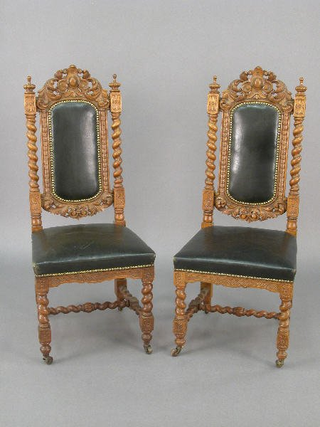 23: Pr. Victorian carved oak side chairs with
