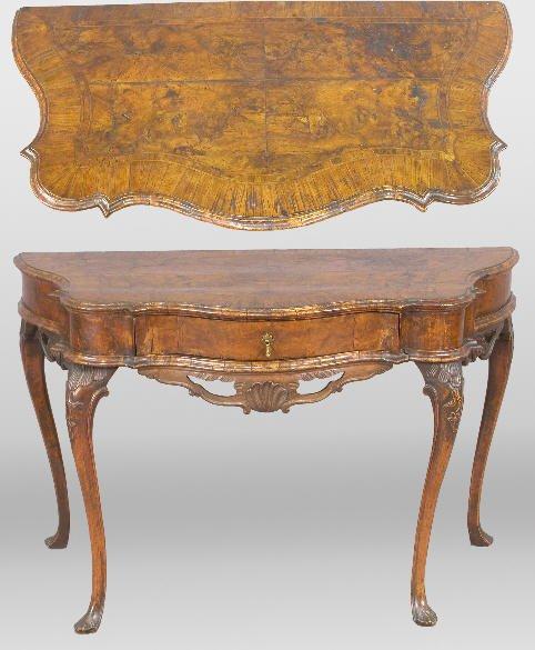 88: Early Italian burl walnut console