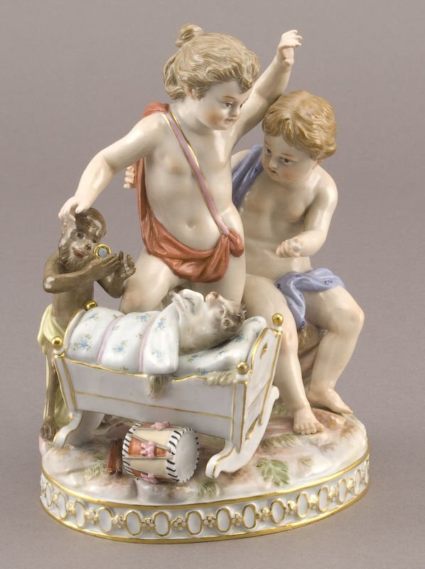 1: Meissen porcelain figure depicting two putti