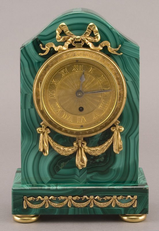 3: Louis XVI style malachite and gilt bronze clock