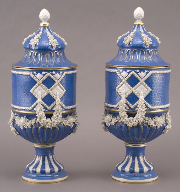 12: Pr. Dresden Carl Thieme porcelain covered vases