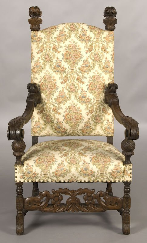 20: Flemish baroque oak tapestry armchair