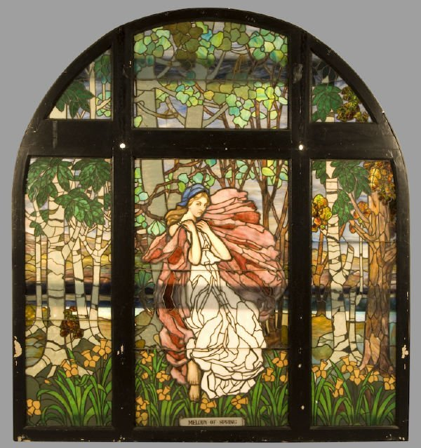 196: American Victorian arched top stained glass window