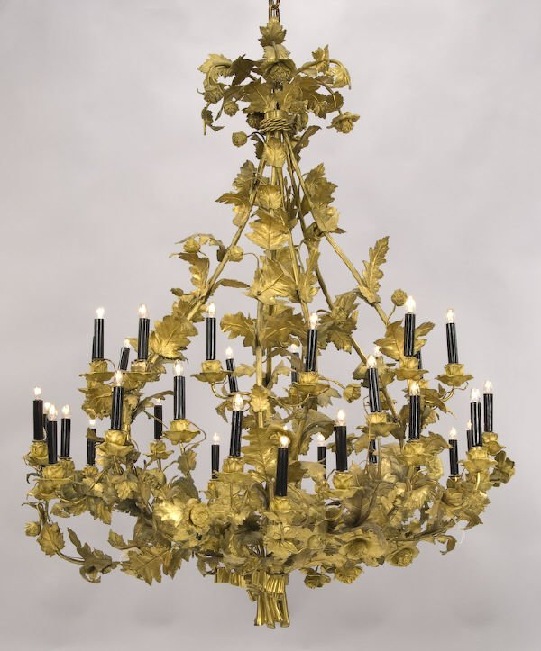 213: Grand continental gilt bronze 35 light chandelier