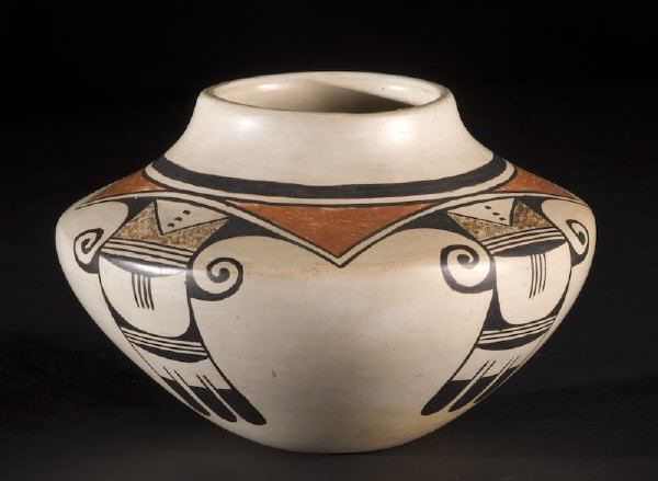8: American Indian Hopi Feather Woman pottery olla