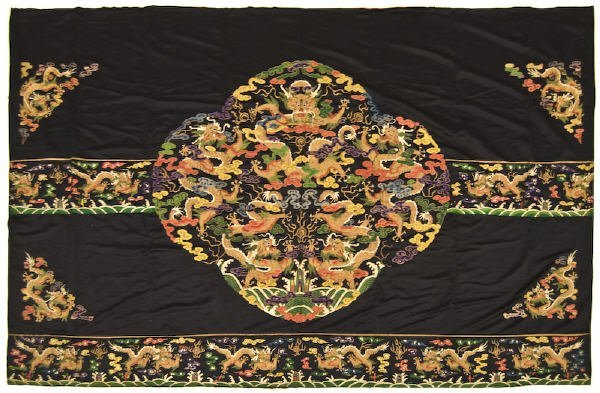 9: Chinese Qing Dynasty embroidered silk bed cover