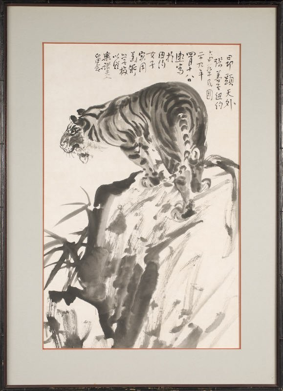 19: Chinese ink color framed painting by Zhang Shanzi