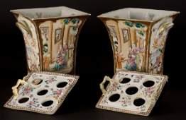 21: Pr. Chinese Canton Rose porcelain cache pots