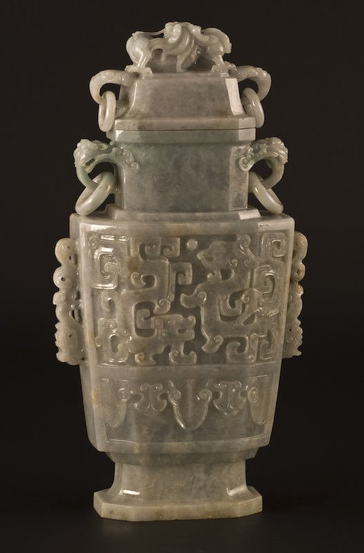 22: Chinese carved jadeite urn