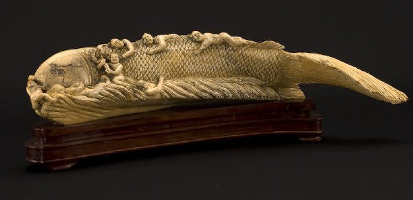 23: Chinese carved walrus ivory figure