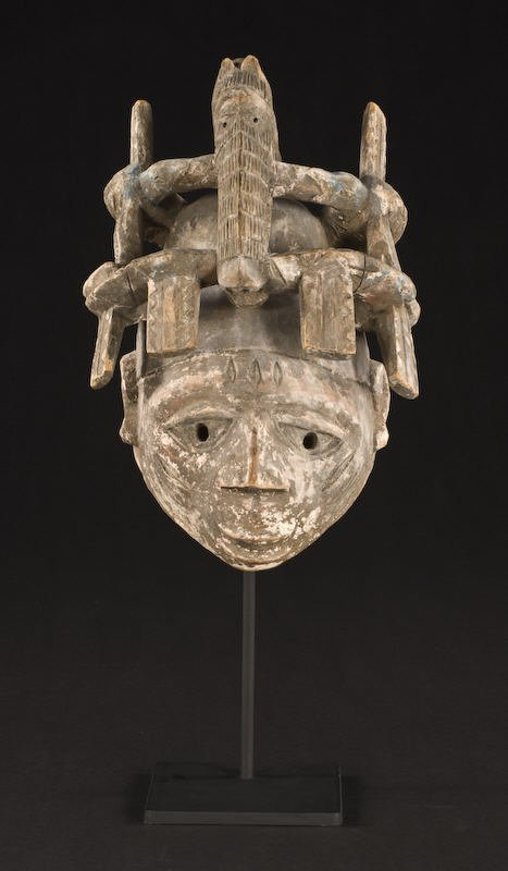 24: African Yoruba carved wood gelede headdress