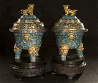 65 Pr Chinese cloisonne and bronze incense burners