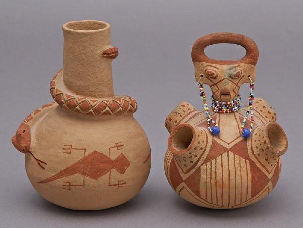 155: 2 Pcs. Elmer Gates Mojave redware pottery