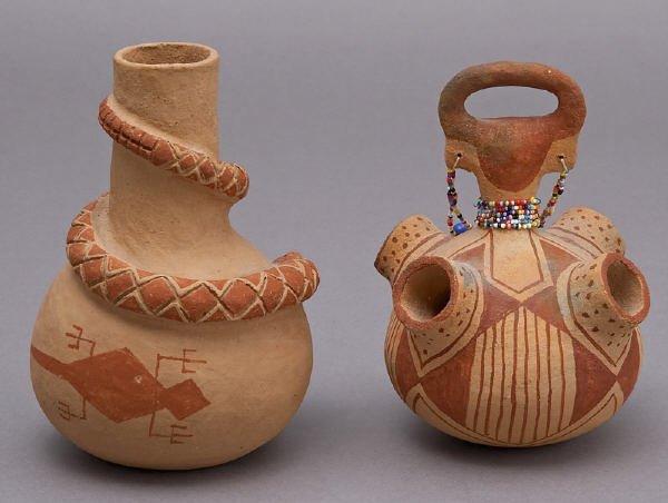 155: 2 Pcs. Elmer Gates Mojave redware pottery - 2