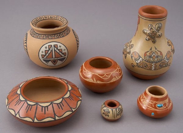 174: (6) Pueblo pottery vessels including: (1) Tony Da