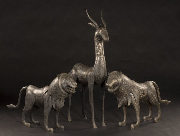 196: (3) Berber Tribe iron and silver sculptures