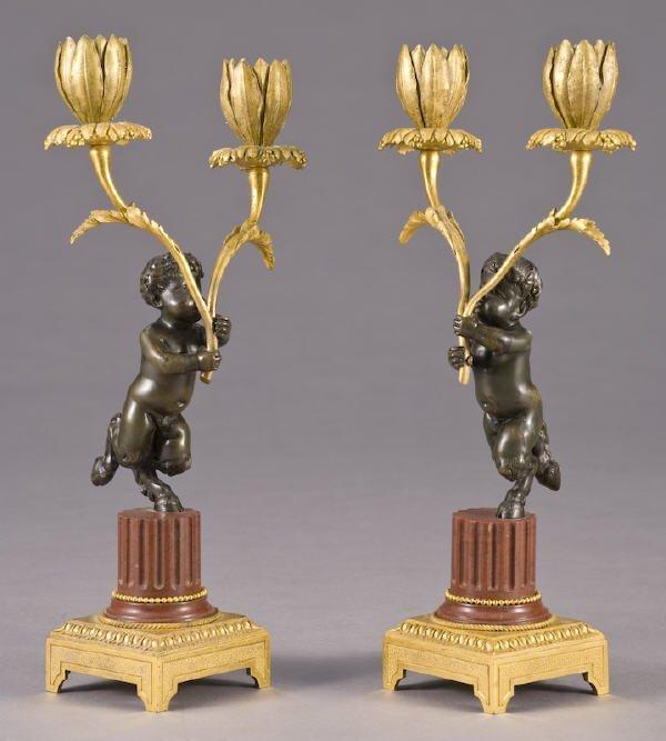 1: Pr. French Napoleon III style bronze candleholders