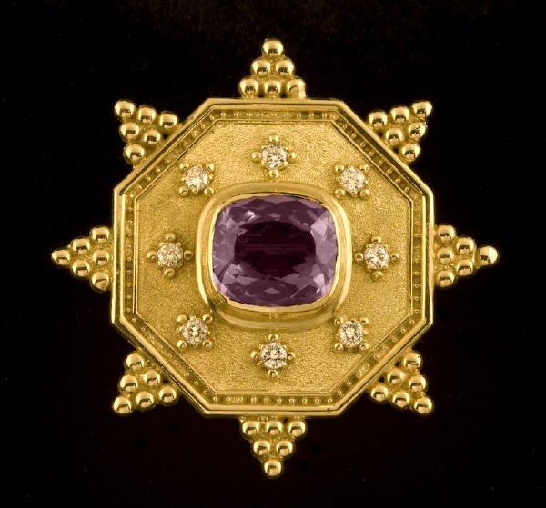 5: Whiteside 18K gold, diamond and amethyst brooch