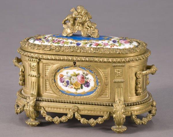 6: Sevres style porcelain and gilt bronze casket