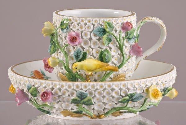 """7: Meissen Schneeball """"Snowball"""" cup and saucer"""