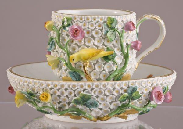 """8: Meissen Schneeball """"Snowball"""" cup and saucer"""