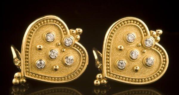 11: Whiteside gold and diamond heart-shaped earrings