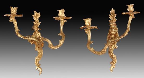 18: Pr. Louis XV style gilt bronze Chinoiserie sconces