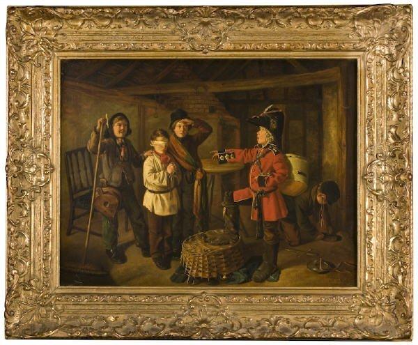 83: Charles Hunt oil painting on panel,