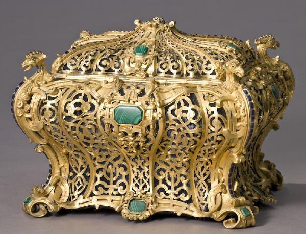 141: Wertheimer pierced gilt gem set jewelry casket