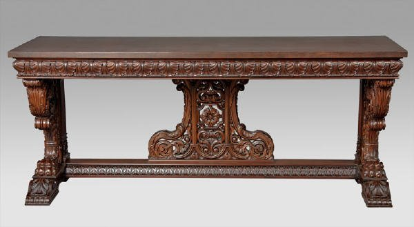 208: Highly carved mahogany hall table, the