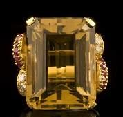216 Art Deco 14K gold diamond and citrine ring
