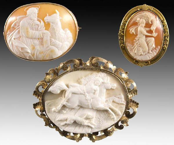 2: (3) Victorian carved shell mythological cameos