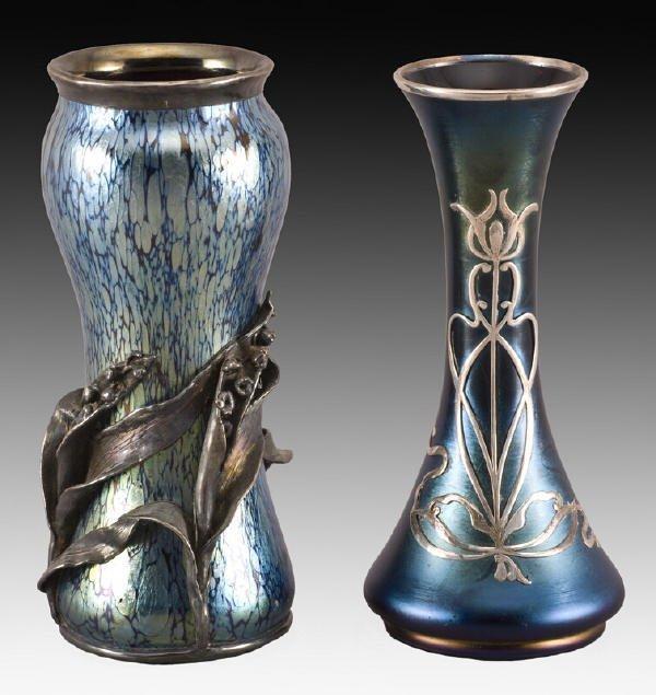 4: (2) Loetz iridescent glass vases with silver