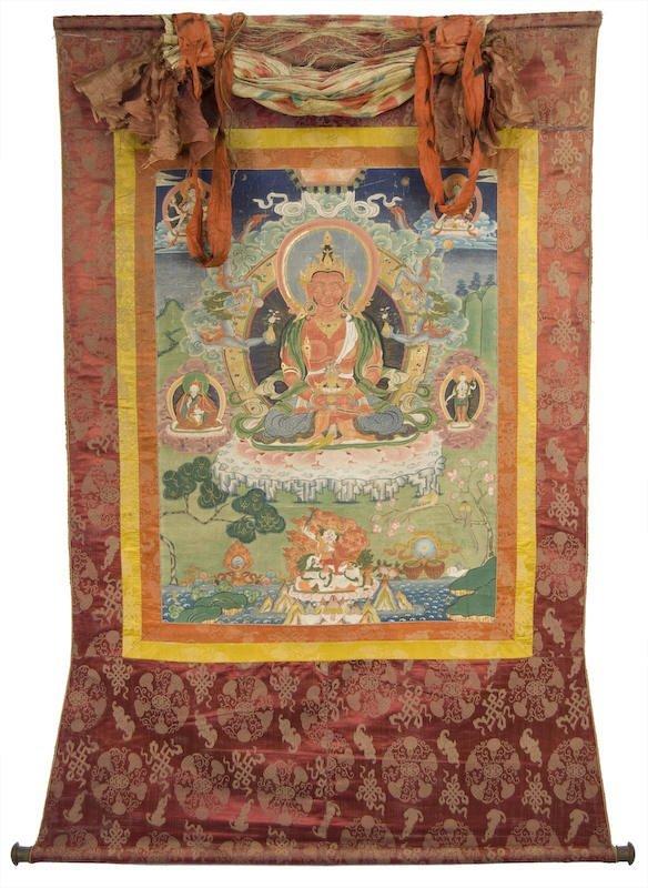 6: Chinese / Tibetan hand painted Thangka of  Amitaba