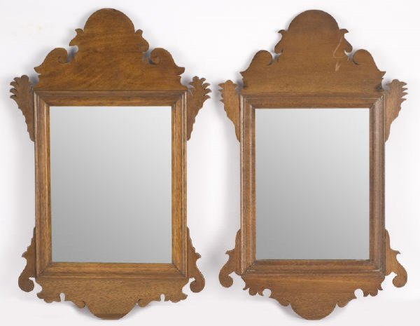 11: Near pair of antique miniature Chippendale mirrors