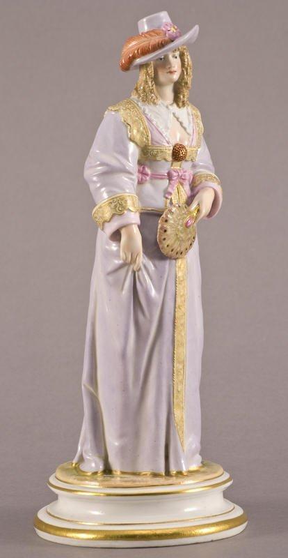 14: Meissen porcelain standing female figure with fan