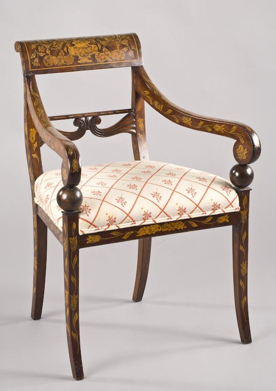 15: Regency style marquetry inlaid arm chair,