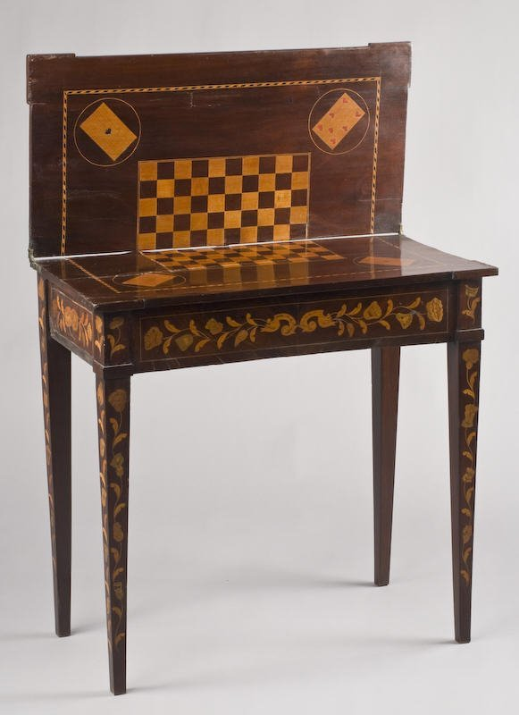 16: Marquetry inlaid mahogany games table
